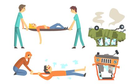 Wrecked cars after the accident are turned upside down. Doctors carry the victim on a stretcher. Vector illustration. Illustration