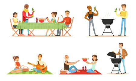 Men and women relax in nature, barbecue and have a picnic. Vector illustration. 일러스트