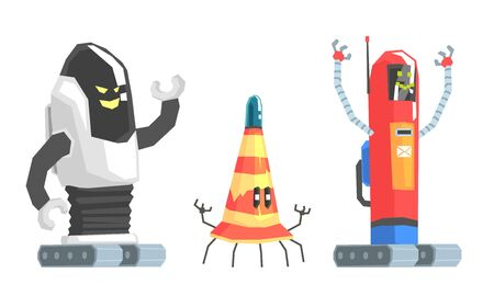 Collection of old humanized robots in the shape of a mailbox and a cone on caterpillars and legs. Vector illustration.