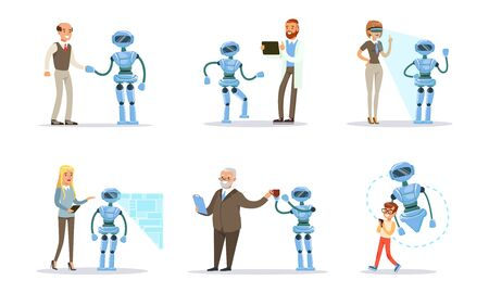 People remotely control a blue robot assistant. Vector illustration. 向量圖像