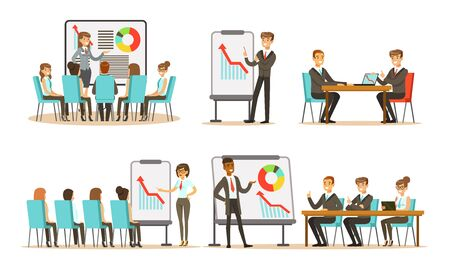 Men and women at the office discuss different schemes and graphs. Vector illustration. 向量圖像