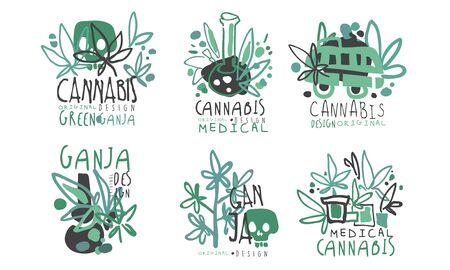 Set of  cannabis. Vector illustration. Illustration