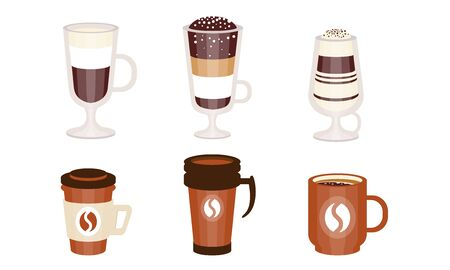 Set of coffee and coffee cocktails in glass and plastic glasses. Vector illustration. 向量圖像