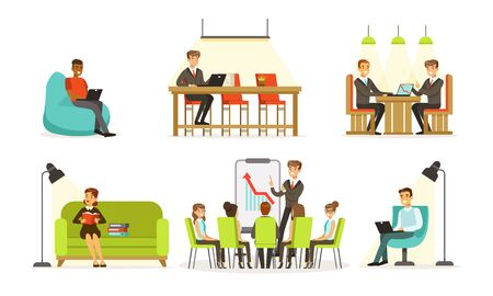 People work in the office on the couch, armchair, at the high table, at the training. Vector illustration. Illustration