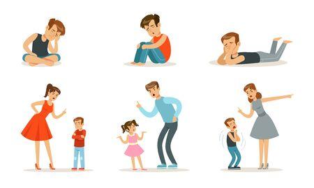 Upset boys teenagers sit and parents scold children. Vector illustration. Иллюстрация