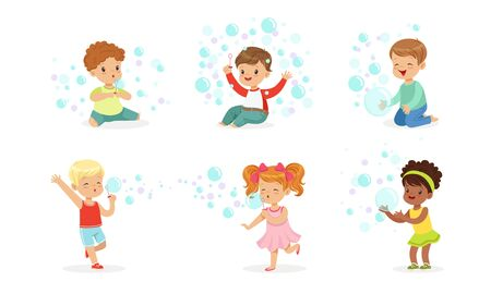Boys and girls sit and run among the soap bubbles. Vector illustration. Illustration