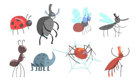 Set of cartoon beetles, ladybug, ant, fly, mosquito spider cockroach Vector illustration