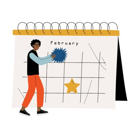 Small African American Man Standing Near Big Calendar Planning and Scheduling Important Events, Time Management and Business Planning Vector Illustration on White Background. Standard-Bild - 133580456