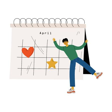Young Man Standing Near Big Calendar Planning and Scheduling Important Events, Time Management and Business Planning Vector Illustration on White Background.