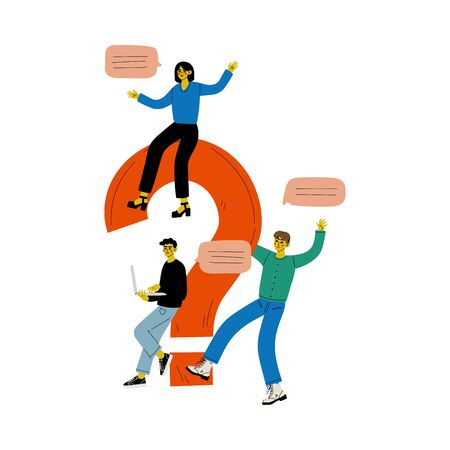 People with a Big Question Mark, Colleagues Communicating, Making a Choice or Seeking Solution to a Problem Vector Illustration on White Background. Ilustração