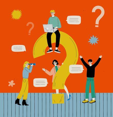 큰 물음표가 있는 사람들, 남성과 여성이 의사 소통하고, 정보를 검색하거나, 플랫 스타일의 문제 벡터 일러스트레이션에 대한 해결책을 찾고 있습니다.