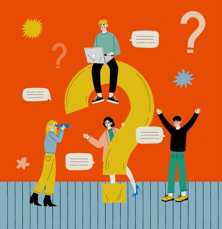 People with a Big Question Mark, Men and Women Communicating, Searching for Information or Seeking Solution to a Problem Vector Illustration in Flat Style. 일러스트
