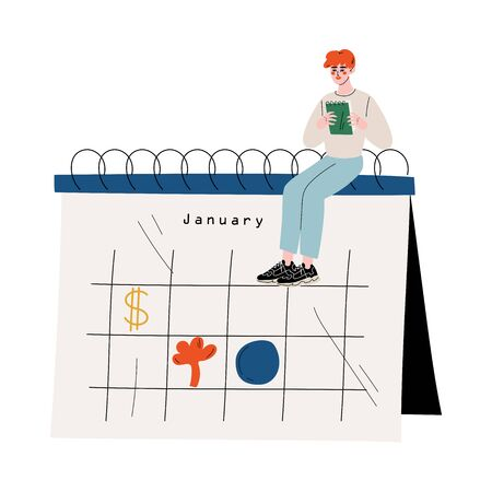 Small Man Sitting on a Big Calendar Planning and Scheduling Important Events, Time Management and Business Planning Vector Illustration on White Background. Stock Illustratie