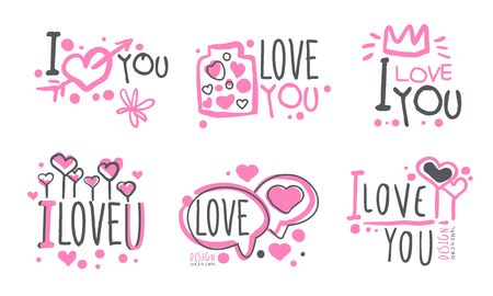Lettering on a pink minimalistic outline  of a declaration of love. Vector illustration.
