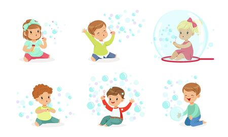 Toddlers are sitting among soap bubbles. Vector illustration. Illustration