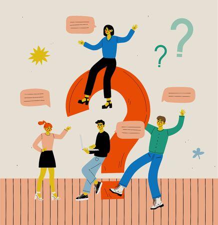 Personas con un gran signo de interrogación, equipo empresarial comunicándose, haciendo una elección o buscando una solución a un problema Ilustración vectorial en estilo plano.