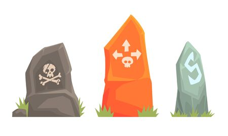 Three roadside stones with a skull shaped emblem with bones and arrows. Vector illustration. Stock fotó - 133572244