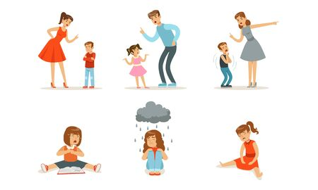 Girls are sad and cry. Parents scold children. Vector illustration.