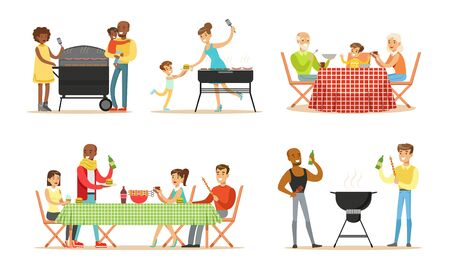 Adults and children communicate, cook and have dinner on a barbecue. Vector illustration. 일러스트