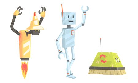 Set of old fashioned robots flying, with legs and in the form of a vacuum cleaner with long bristles. Vector illustration.