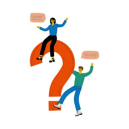 Young Man and Woman with a Big Question Mark, People Communicating, Making a Choice or Seeking Solution to a Problem Vector Illustration on White Background.