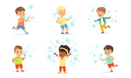 Children run among soap bubbles. Vector illustration. Illustration