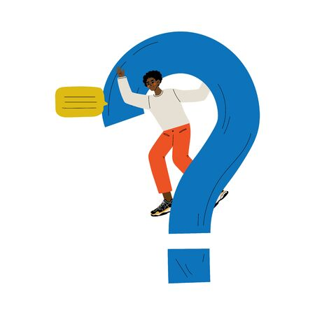 Young Man Standing Next to a Big Question Mark, Guy Communicating, Making a Choice or Seeking Solution to a Problem Vector Illustration on White Background. Stock Illustratie