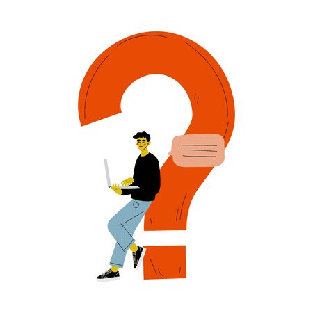 Young Man Standing Next to a Big Question Mark with Laptop, Businessman Doubting, Making a Choice or Seeking Solution to a Problem Vector Illustration on White Background. Stock Illustratie