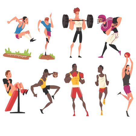 Male Professional Athletes Characters in Sportswear Doing Various Kind of Sports Set, Active Sport Lifestyle Vector Illustration Vector Illustration on White Background.