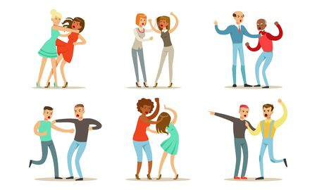 Different people swear and fight violently with each other. Vector illustration