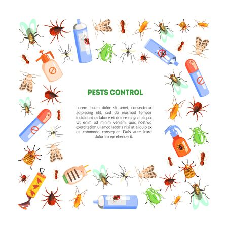Pest Control Banner Template with Space for Text with Harmful Insects and Insecticides Vector Illustration, Web Design.