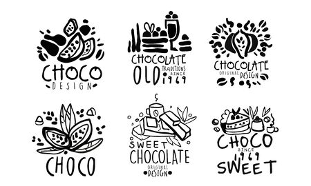 Set of minimalistic black linear  for a chocolate confectionery. Vector illustration.