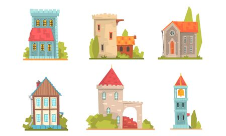 Collection of ancient buildings with a bell tower, a tower and a balcony. Vector illustration.