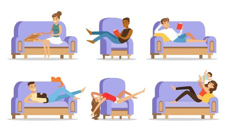 Young people have a rest on a sofa at home with a toddler, a cat, a book and pizza. Vector illustration