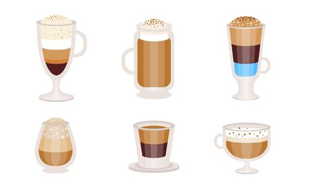 Different types of coffee cocktails with milk in transparent glasses. Vector illustration.