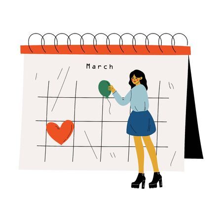 Small Young Woman Standing Near Big Calendar Planning and Scheduling Important Events, Time Management and Business Planning Vector Illustration on White Background.