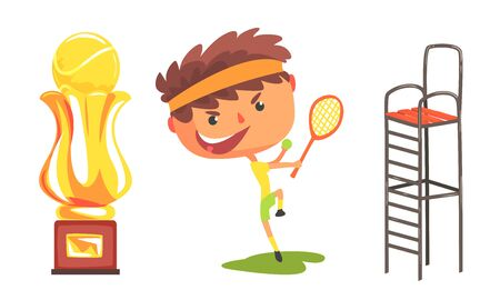 Cartoon boy tennis player with a racket, next to a large golden goblet and high referees chair. Vector illustration.