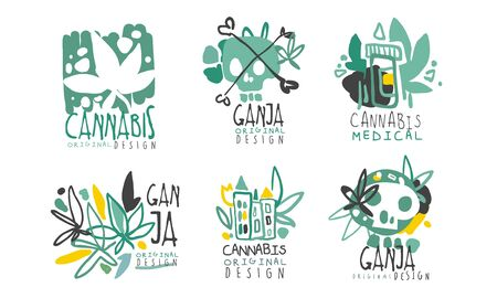 Set of green  on the theme of medical drugs with hemp leaves and lettering. Vector illustration.