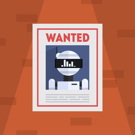 Wanted Robot Criminal Banner Template, Cybercrime Placard Vector Illustration, Web Design. Stock Illustratie