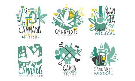 Zestaw minimalistycznych zielonych logo na temat konopi z konturami i napisami. Ilustracja wektorowa. Logo