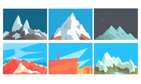 Set of cards with mountain landscapes on a background of day and night sky. Vector illustration.  イラスト・ベクター素材