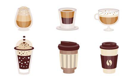Boissons au café avec du lait dans des verres transparents et à emporter. Illustration vectorielle.