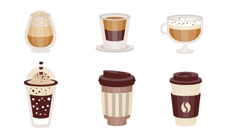 Coffee drinks with milk in transparent glasses and takeaway. Vector illustration. Illustration