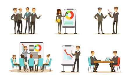 Managers in the office discuss charts and graphs. Vector illustration.
