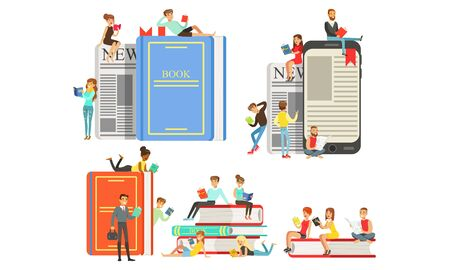Many little reading people are sitting on giant books and smartphones with text. Vector illustration