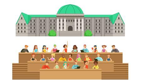 Grand bâtiment universitaire gris avec un toit vert et un auditorium avec des étudiants. Illustration vectorielle.