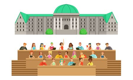 Gray large university building with a green roof and an auditorium with students. Vector illustration. Illustration