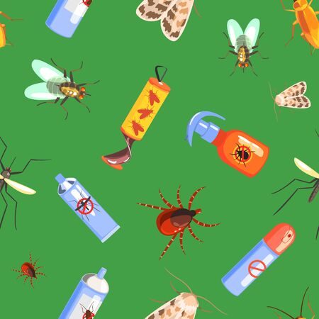 Harmful Insects and Insecticides Seamless Pattern Can Be Used Fabric Wrapping Paper, Website Wallpapers, Background Vector Illustration, Web Design.