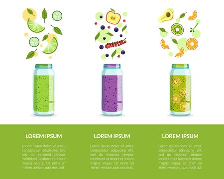 Detox Drinks Banner Template with Fresh Smoothies and Space for Text Vector Illustration
