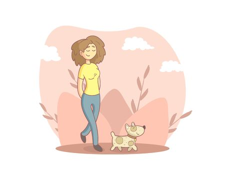 Girl Walking with Her Dogs in the Park, Person Enjoying Beautiful Nature Vector Illustration
